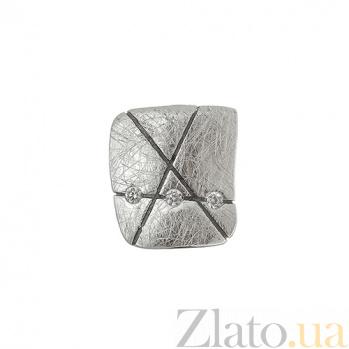 Серебряная серьга-пуссета с цирконием Интрига Кл пус кв бц