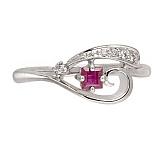 Кольцо Керри из белого золота с бриллиантами и рубином