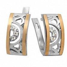 Серебряные серьги Анталия с фианитами и золотыми накладками