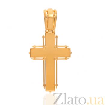 Золотой крест Сказка с бриллиантами, изумрудами и эмалью 000029393