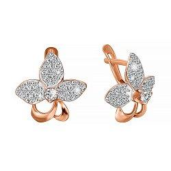 Серебряные сережки Орхидея с цирконием и позолотой