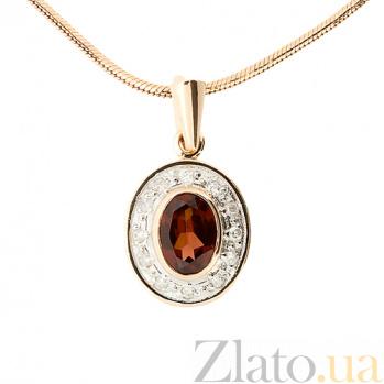 Подвес из красного золота с бриллиантами и гранатом Петуя ZMX--PGn-6172_K