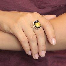 Серебряное кольцо Оазис с желто-фиолетовой имитацией опала