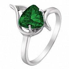 Серебряное кольцо Селин с насыщенным изумрудным альпинитом