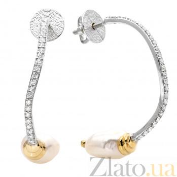 Серебряные пуссеты с жемчугом и цирконием Сильфия 000030119