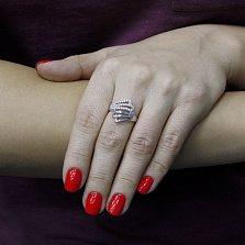 Серебряное кольцо Ветер перемен с фианитами