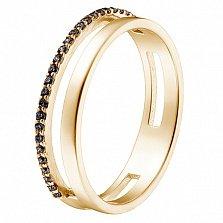 Кольцо в желтом золоте Мария с черными фианитами