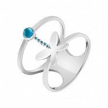 Кольцо в белом золоте Порхающее чудо с голубым топазом и фианитами