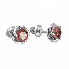 Серебряные серьги-пуссеты с родолитом Подарок