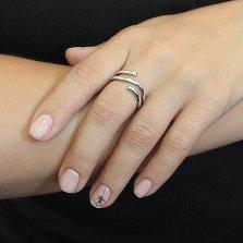 Серебряное спиральное кольцо Дуализм с черным и белым фианитами