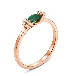 Кольцо из красного золота с изумрудом и бриллиантами 000131379