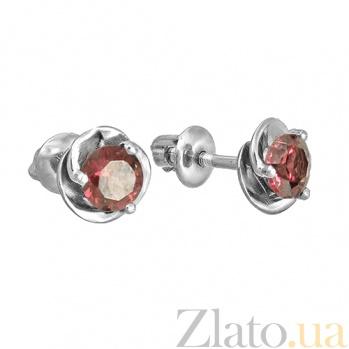 Серебряные серьги-пуссеты с родолитом Подарок 000018941