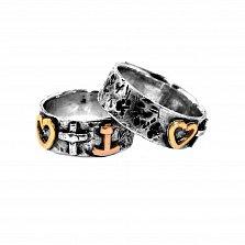 Кольцо из серебра Fides, Spes, Caritas с золотыми вставками и чернением