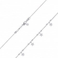 Серебряный браслет Звезды с подвесками и белыми фианитами