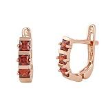Позолоченные сережки из серебра с красным цирконием Братислава