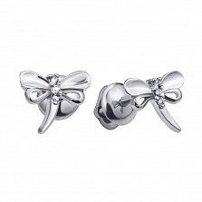 Серебряные родированные серьги-пуссеты Стрекозки с белыми фианитами