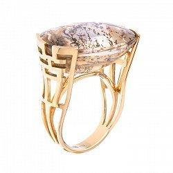Золотое кольцо с пейзажным кварцем 000052116