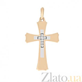 Золотой крестик с фианитами Сияние души SVA--3101503112/Фианит/Цирконий