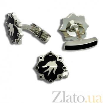 Эксклюзивные золотые запонки с чёрными бриллиантами и эмалью Полет ласточек 000026507