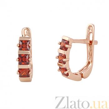 Позолоченные сережки из серебра с красным цирконием Братислава SLX--С3ФГ/343