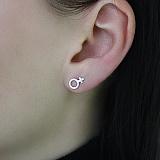 Серьга-гвоздик из белого золота в одно ухо Женщина