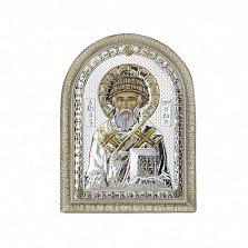 Серебряная икона Святой Спиридон с позолотой