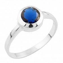 Серебряное кольцо Эрма с синтезированным сапфиром