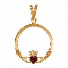 Кладдахский кулон из красного золота Царство любви с синтезированным рубином
