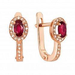 Золотые серьги Гемма в красном цвете с рубином и бриллиантами