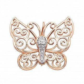 Золота брошка у комбінованому кольорі з фіанітами 000124331
