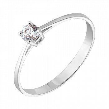 Золотое кольцо в белом цвете с цирконием Swarovski 000053304