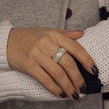 Золотое кольцо Кальведе с узорами и белой эмалью