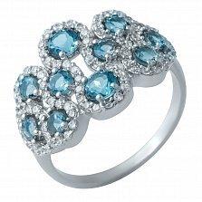 Серебряное кольцо Царевна с фантазийной шинкой, лондон топазами и фианитами