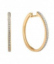 Золотые серьги-кольца Летний вечер в комбинированном цвете с дорожками фианитов