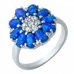 Серебряное кольцо Синяя мальва с опалами и фианитами