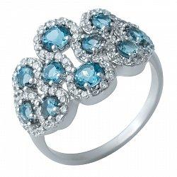 Серебряное кольцо с фантазийной шинкой, лондон топазами и фианитами 000074384