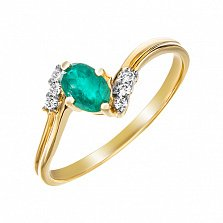 Золотое кольцо Орланда с изумрудом и бриллиантами
