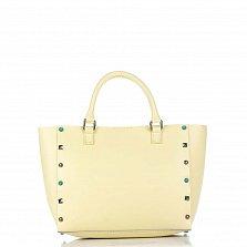 Кожаная сумка на каждый день Genuine Leather 8676 желтого цвета с декоративными заклепками