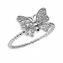 Золотое кольцо в белом цвете с цирконием Анемонка