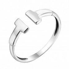 Золотое кольцо Знак моды в белом цвете с разомкнутой шинкой в стиле Тиффани