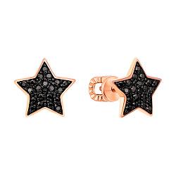 Золотые серьги-пуссеты Star в комбинированном цвете с черными крапанами и фианитами