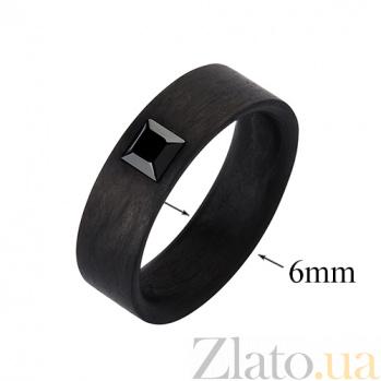 Кольцо из карбона с чёрным фианитом Принц CJ021
