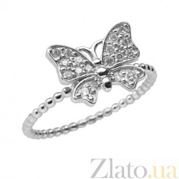 Золотое кольцо в белом цвете с цирконием Анемонка ZMX--RCz-00529w_K