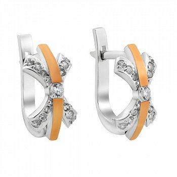 Серебряные серьги с золотыми накладками и фианитами 000116179