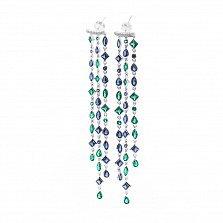 Серебряные пуссеты-подвески Гретэль с разноцветными фианитами