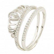 Серебряное кольцо Королева луны с фианитами
