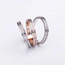 Золотое тройное кольцо Дестини с фианитами