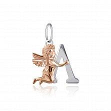 Серебряный подвес Ангелочек с буквой Л с позолотой