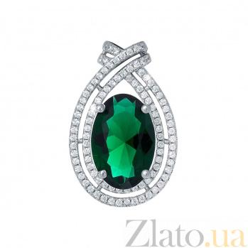 Кулон из серебра с зеленым цирконием Агнеса AQA--HYP12080245g
