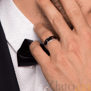 Эксклюзивное обручальное кольцо Полет Ласточек с чёрными бриллиантами и эмалью 000026510